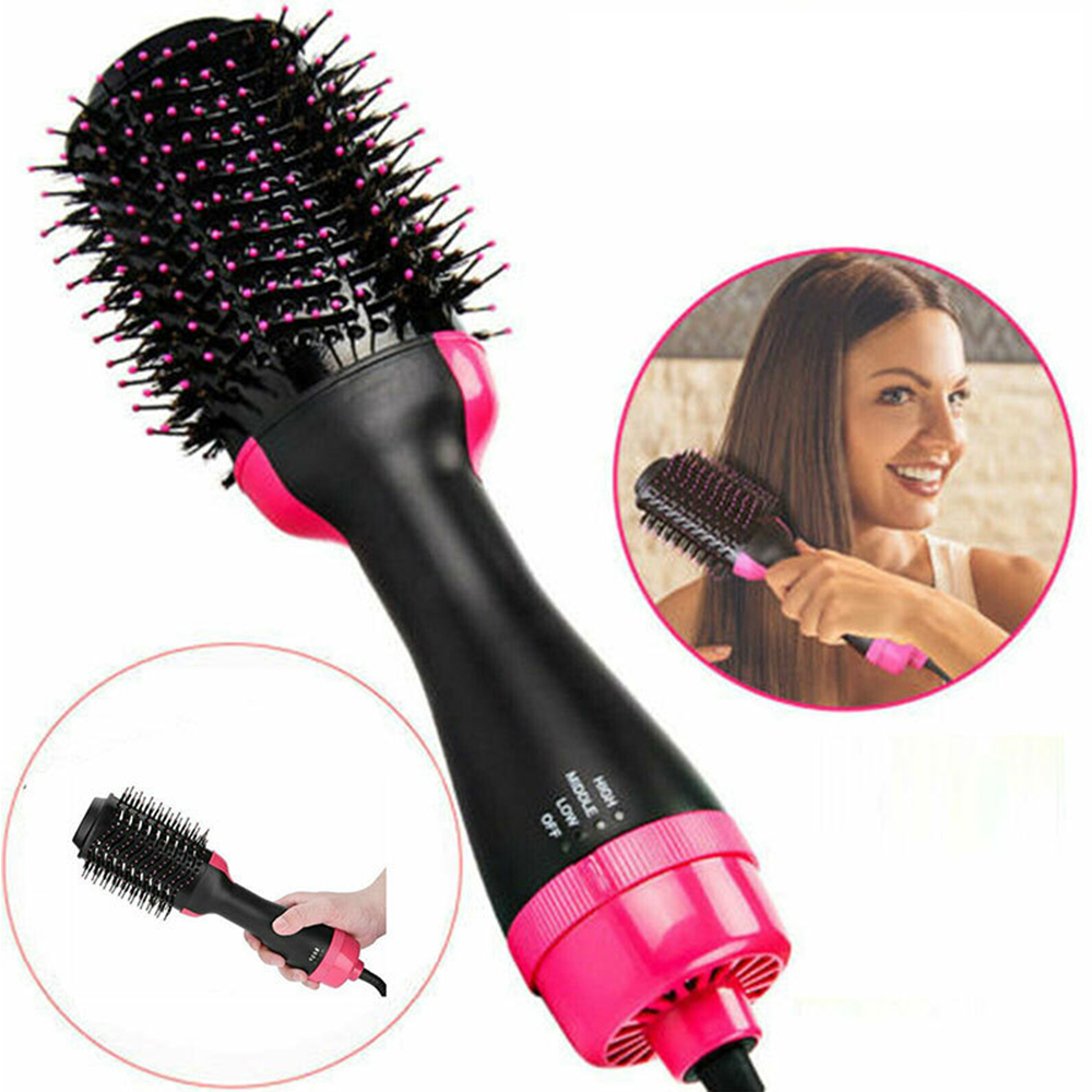 3 In 1 Hair Dryer Brush Straightener And Curler Hot Air Brush Volumizer Blow Professional Curling Hair Styler Comb Gifts