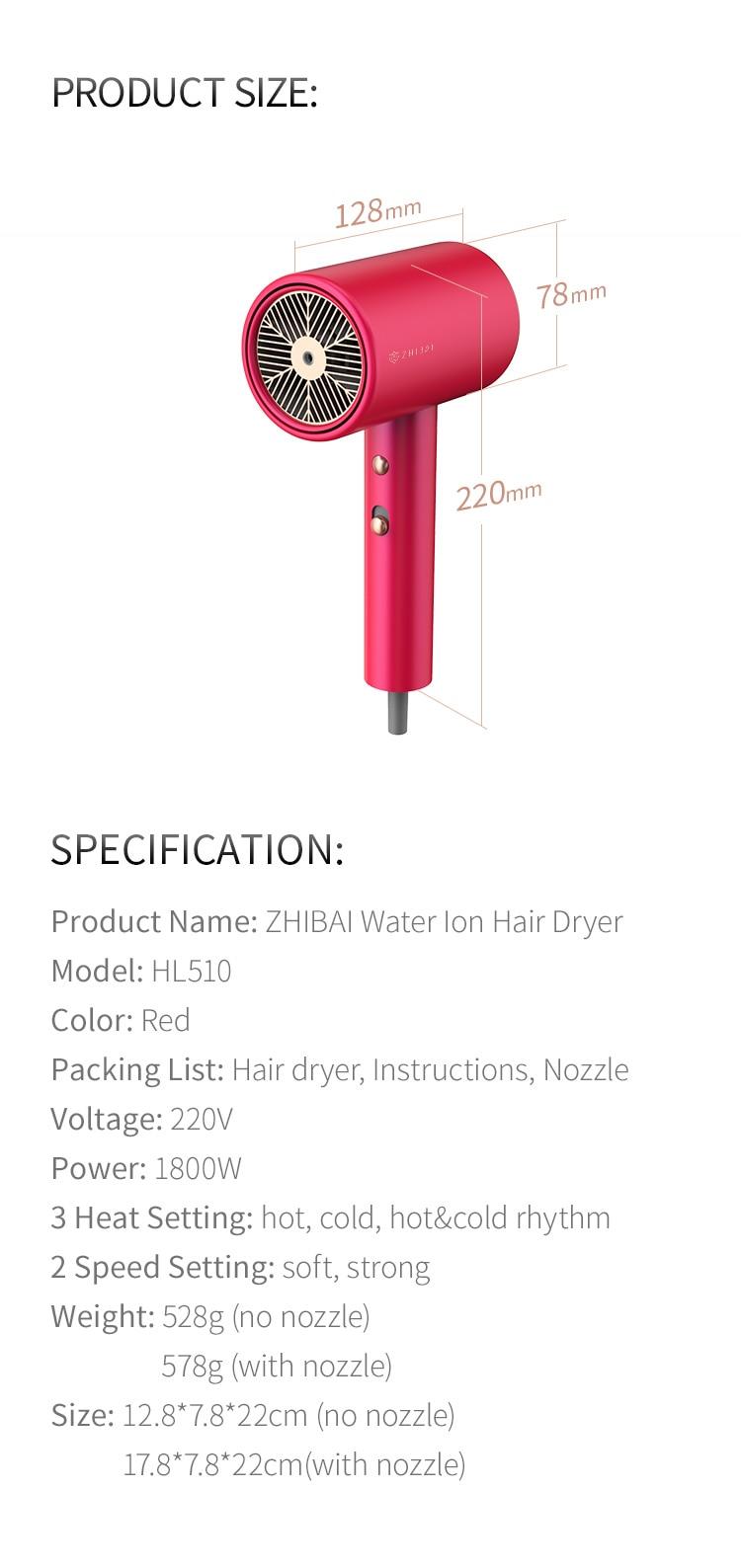 2 velocidade temperatura mi secador de cabelo para casa portátil hl510