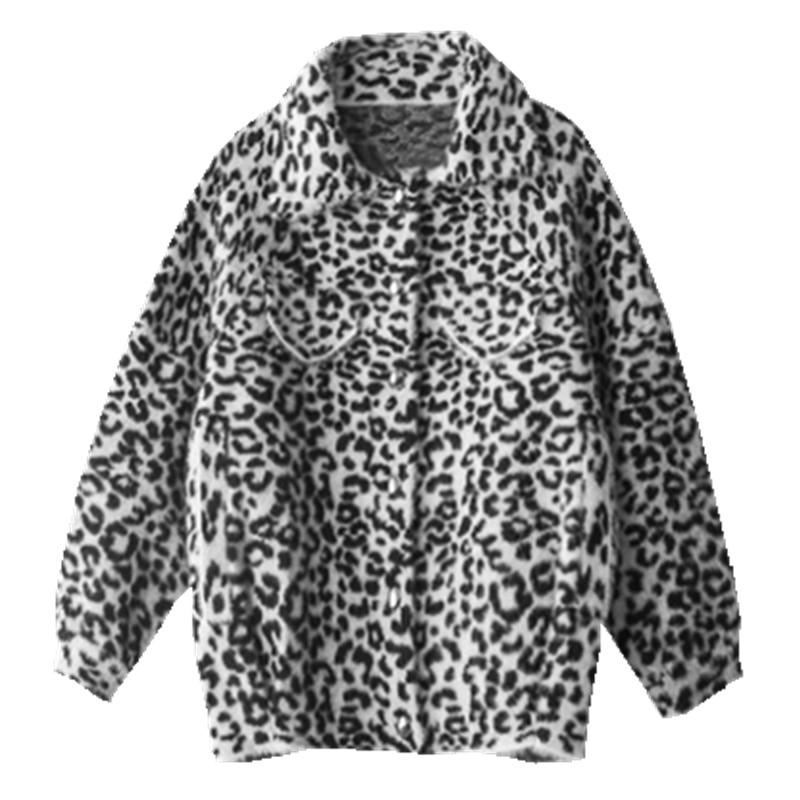 NiceMix Frauen Casual leopard Faux Pelz Tasche Outwear Strickjacke Tasche Lose Mantel Chaqueta De Mujer Mode Streetwear Kleidung