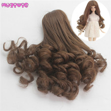 MUZIWIG Synthetic Fiber Long Curly Hair Wigs for BJD SD Dolls with 12.5-14cm Head Circumference Wig Only
