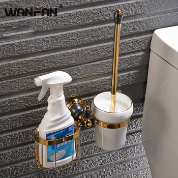 Luxury Golden Finish Toilet Brush Holder With Bathroom Shelf Whole Brass Bath Brush Rack With Basket For Cleanser XL-66832
