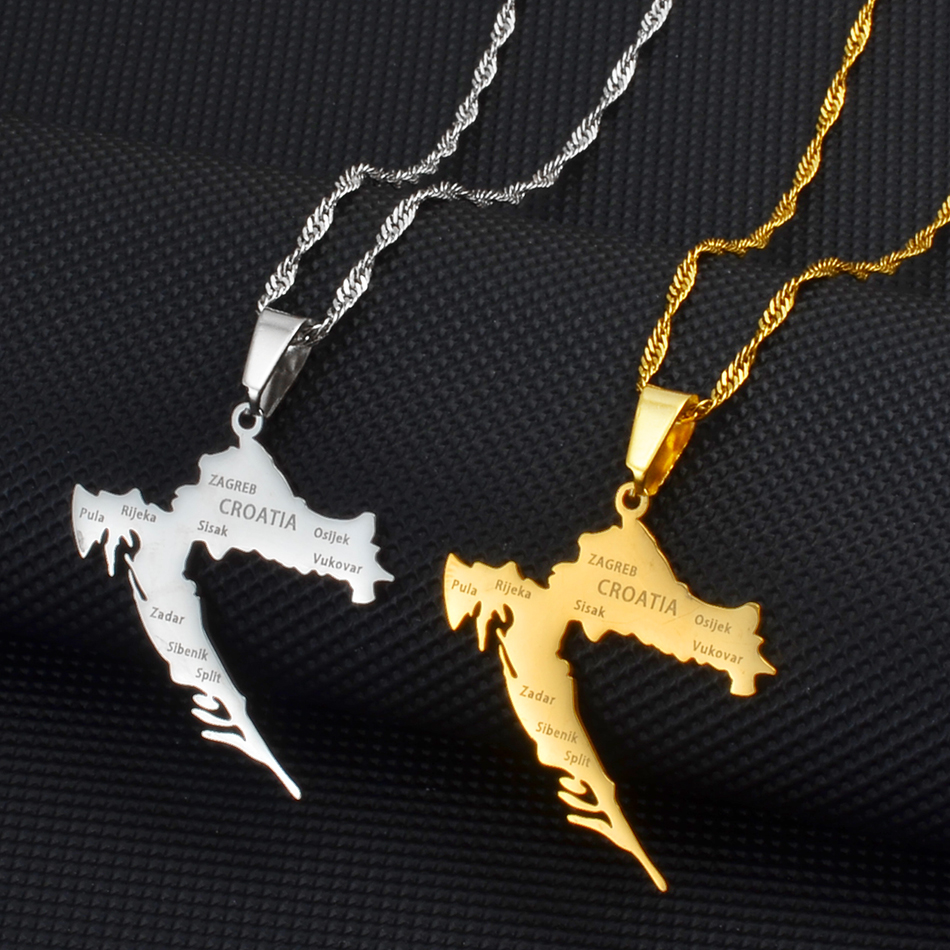 Ожерелье с подвеской в виде карты и городов Anniyo, украшение золотого цвета из нержавеющей стали для женщин и девушек, карты хорватских украше...