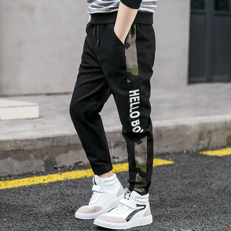New Pants for Boys Spliced Beam Foot Trousers Cotton Casual Sports Pants Clothes for Teen Kids Boys pants Spring clothes 3