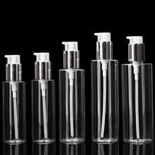 100ml/120ml/150ml/200ml/250ml przezroczysty PET balsam w butelce plastikowa pompa ciśnieniowa natrysk bezpowietrzny butelka opakowanie kosmetyczne nowość