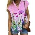 Causal Pink Y2k Short Sleeve Shirts Women's Summer V Neck Print Tshirt Female Tee Fashion Beach Clothes Plus Size 5XL