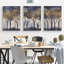 Nordic Forest Landscape Canvas Painting Abstract Tree Deer Posters And Prints Wall Art Pictures For Living Room Home Decoration laeacco nordic oil painting abstract forest landscape canvas posters and prints wall art canvas painting modern room decoration