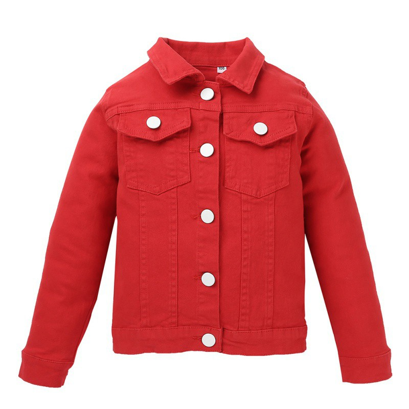 Solid Denim Jacket For Boys Fashion Coat Children Clothing Autumn Babys Girls Clothes Outerwears Cartoon Jean Jackets Coat B|Jackets & Coats| |  - title=