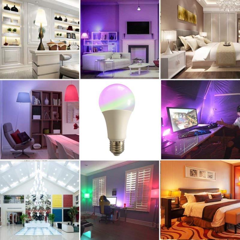 10W Smart Bulb E27 Dimmable Wifi LED RGB+CW Light Intelligent Voice Control Lamp With Alexa And Google Assistant Wake Up Light