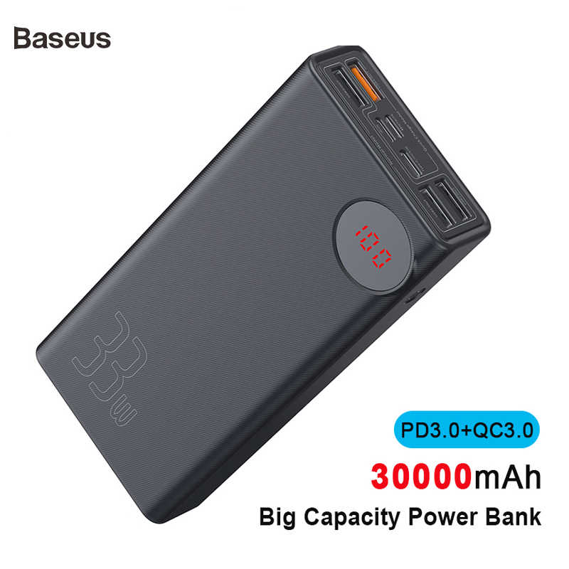 Baseus New 30000mAh Power Bank PD3.0 Quick Charger For iPhone Xs Max Xr X 8 Plus QC3.0 Fast Charger Outdoor Travel Power Bank