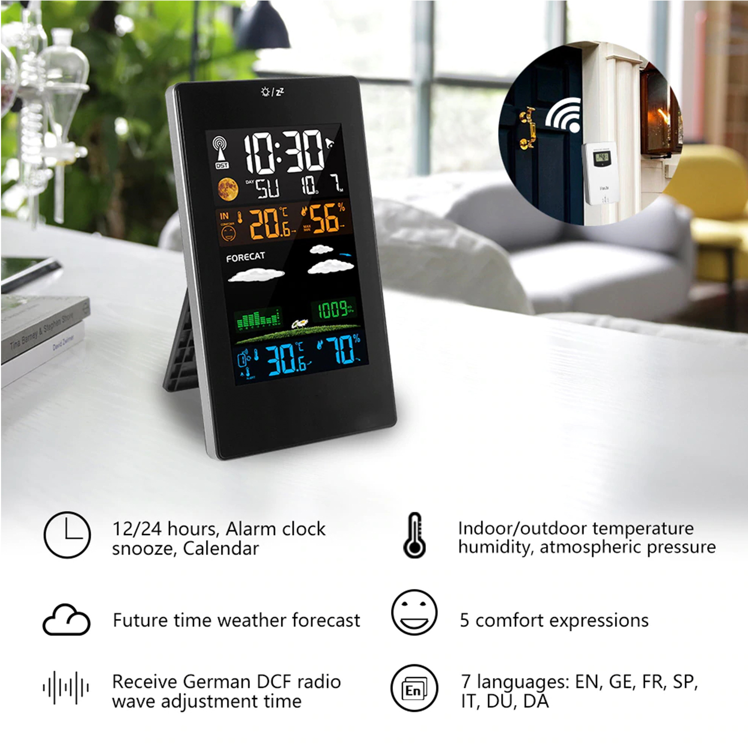 Wireless Weather Station Indoor Outdoor Weather Forecaster with Sensor Digital Thermometer Hygrometer Versatile Weather Station