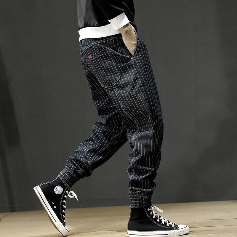 Japanese Style Fashion Men Jeans Vintage Designer Stripe Casual Cargo Pants Men Harem Trousers Loose Fit Hip Hop Joggers Pants