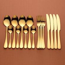 Juego de cubiertos dorados, tenedores, cucharas, vajilla de acero inoxidable, juego de cena dorado, vajilla completa, cuchara dorada