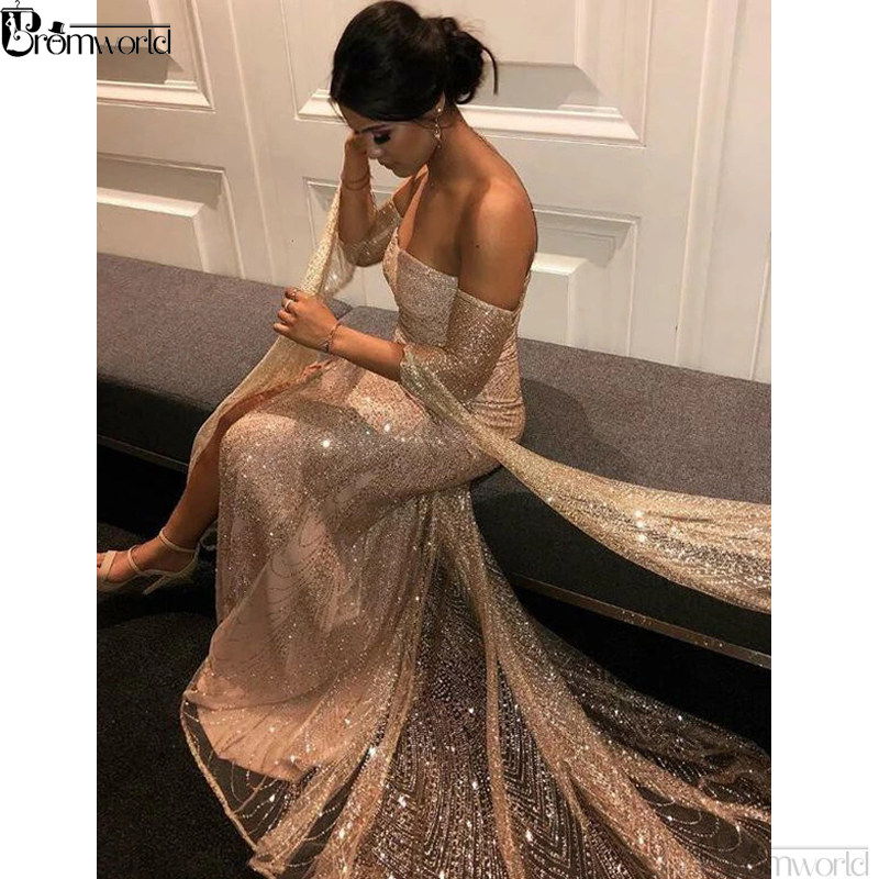 Bling Sequins Off The Shoulder Champagne Long Sleeves Mermaid   Prom     Dresses   High Slit Sexy Evening Gown vestido de festa longo