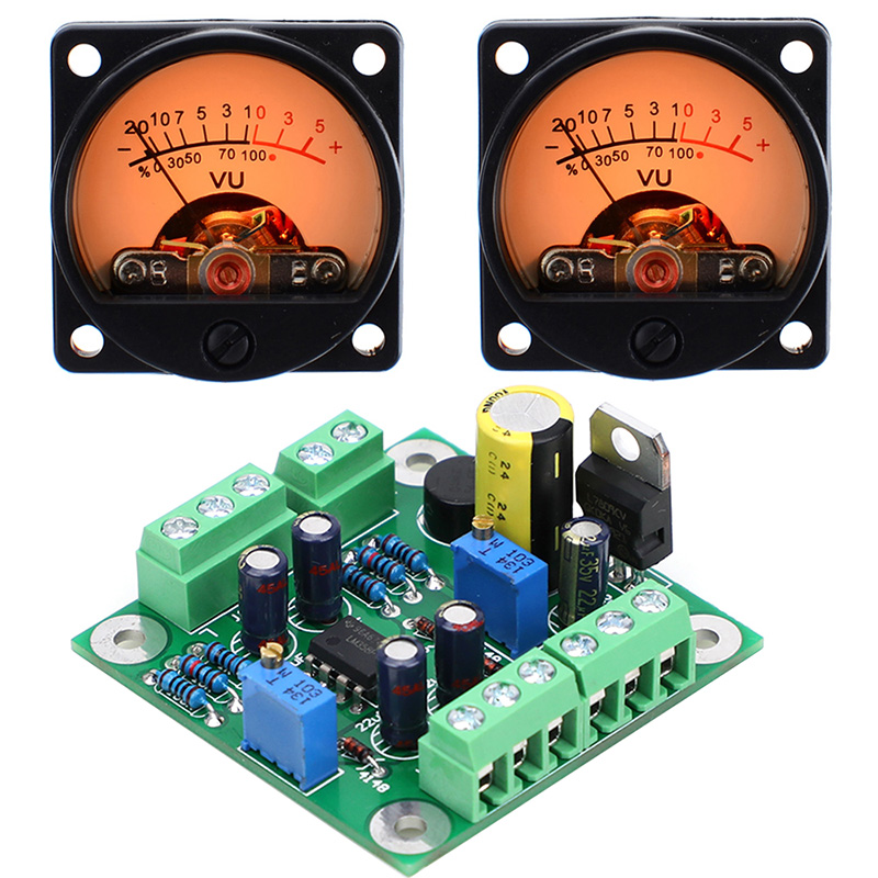 SUQIYA-Free postage VU level audio meter driver board   2pcs VU meter with warm color sound pressure meter 9V-20V AC input