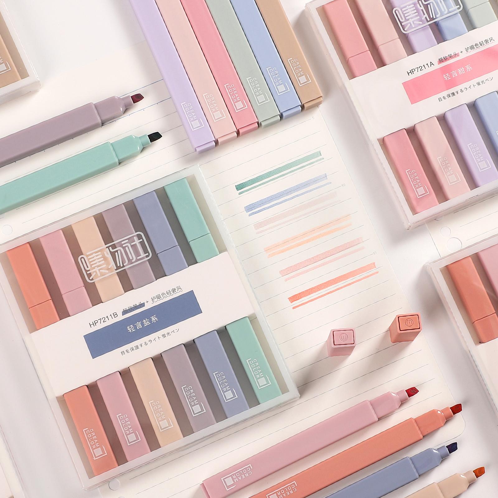 JIANWU 6pcs/set Soft Tip Highlighter Light Color Kawaii Marker Pen DIY Photo Album Journal Fluorescent Pen Student Stationery