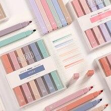 JIANWU 6 sztuk/zestaw miękka końcówka wyróżnienia kolor światła Kawaii Marker DIY Album fotograficzny Journal fluorescencyjny długopis szkolne materiały papiernicze