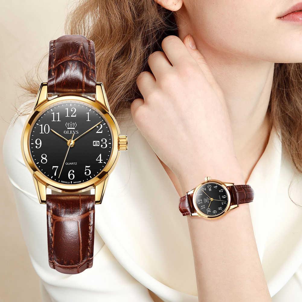 OLEVS Новейшие женские часы водонепроницаемые наручные часы для женщин повседневные женские часы кварцевые кожаные модные и повседневные круглые с пряжкой