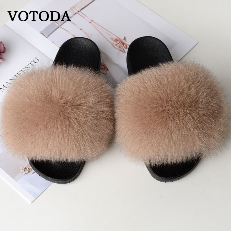 Hot Sale Women Fur Slippers Real Fox Fur Slides Fluffy Furry Fur Sandals Woman Home Slippers Ladies Sweet Cute Fuzzy Plush Shoes