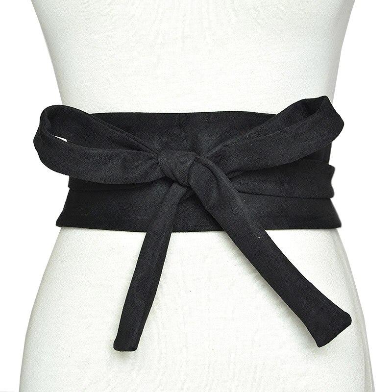 Funklouz Japanese Vintage Women High Waist Belt Bow Cummerbund Lace Up Waistband Slim Dress Belt