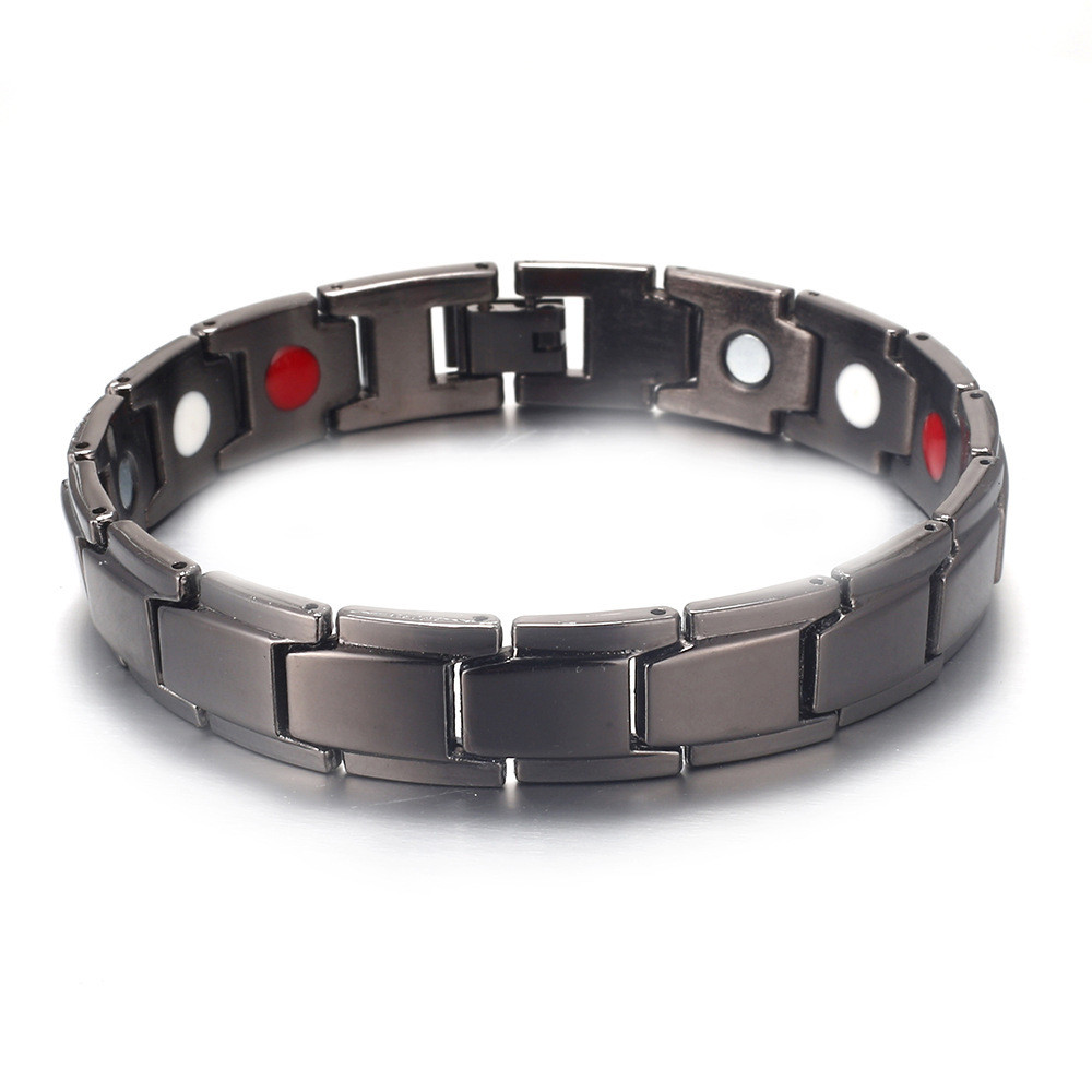 Fashion Jewelry Bangles Magnetic Hematite Metal Men's Health pulseira with Hook Buckle Clasp Therapy Bangles mens jewellery
