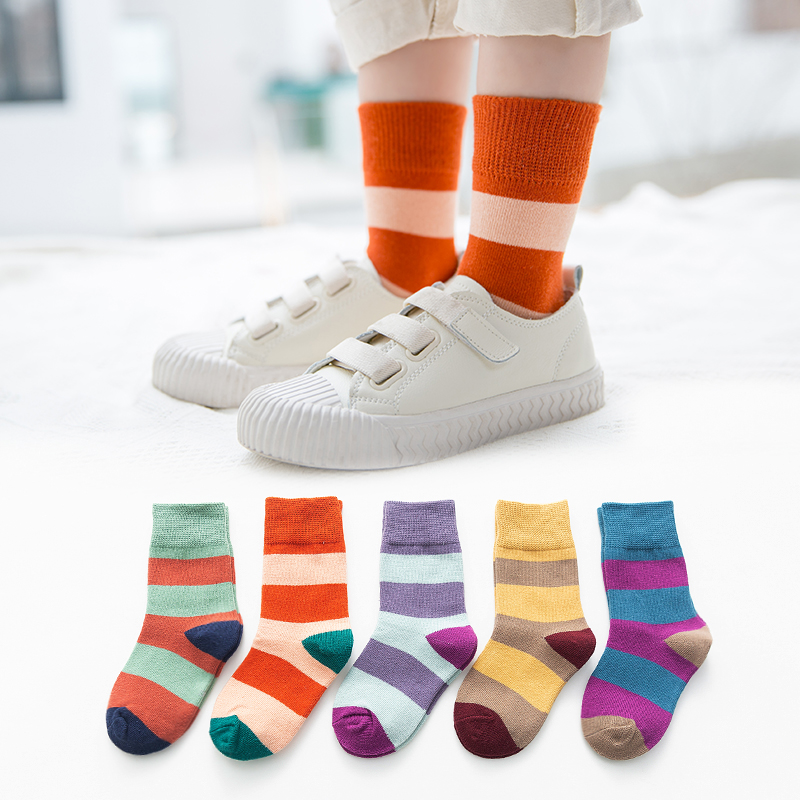 1-12y Toddle Socks For Boys Girls Fall Winter Comb Cotton Short Socks Kids Girls Socks Striped 5pairs/pack C111
