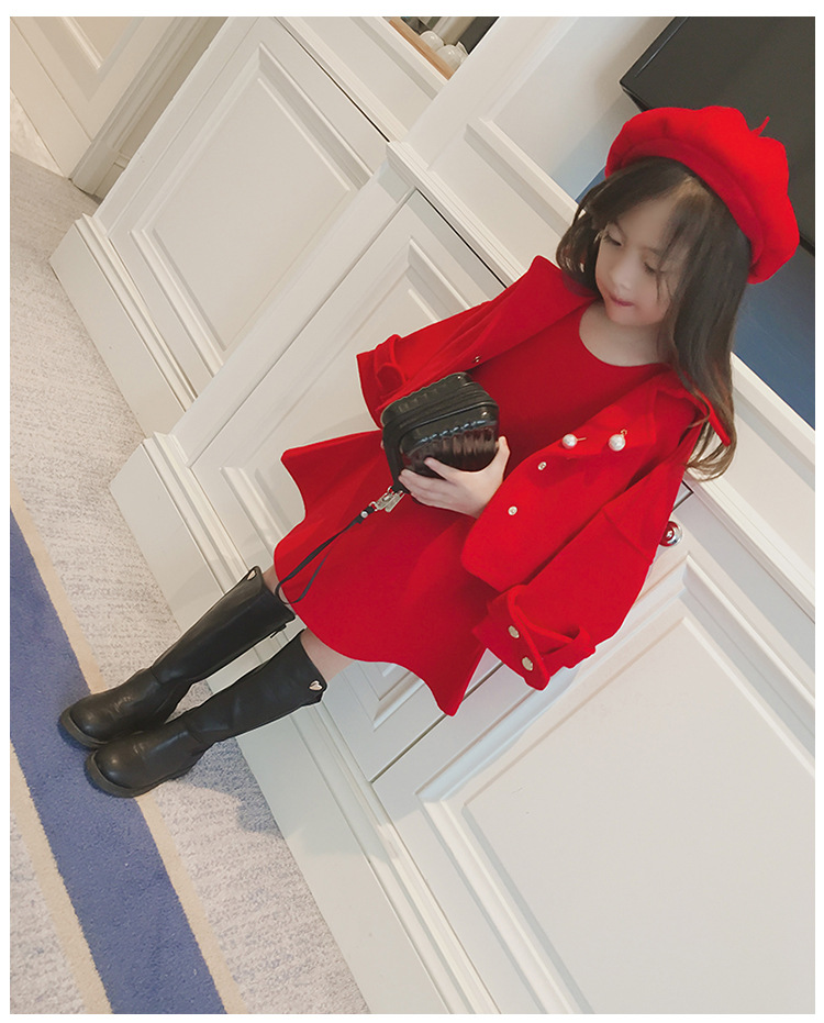 Children Girls Clothing Girls Winter Clothes 2019 Winter Baby Girls Warm Sleeveless Vest Dress +Woolen Jacket Coat 3PCS Sets (8)