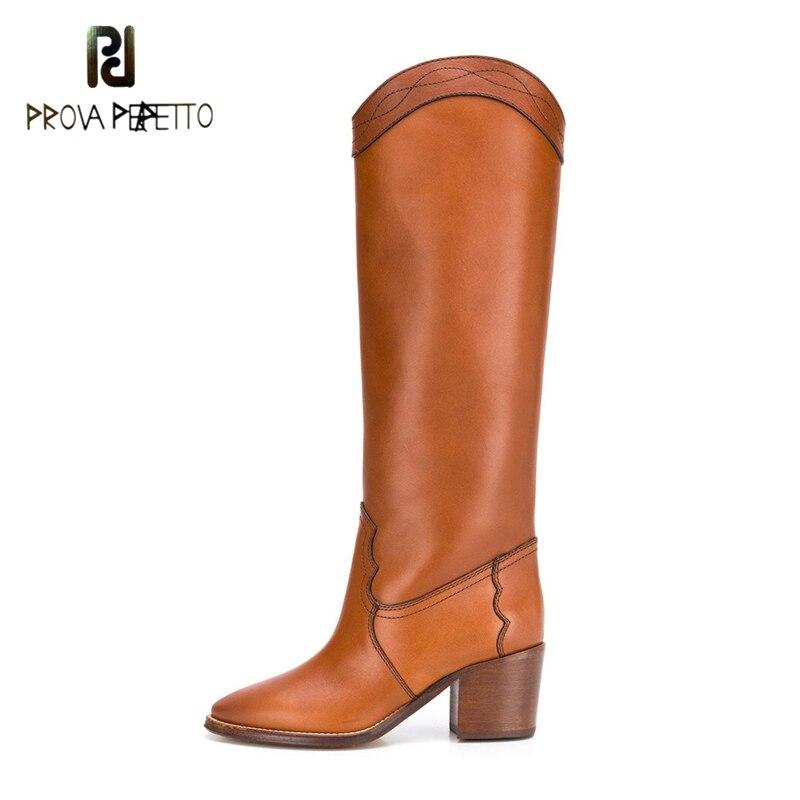 2020 outono inverno nova costura botas marrons moda quente salto quadrado apontou dedo do pé na altura do joelho lado zíper botas de salto médio