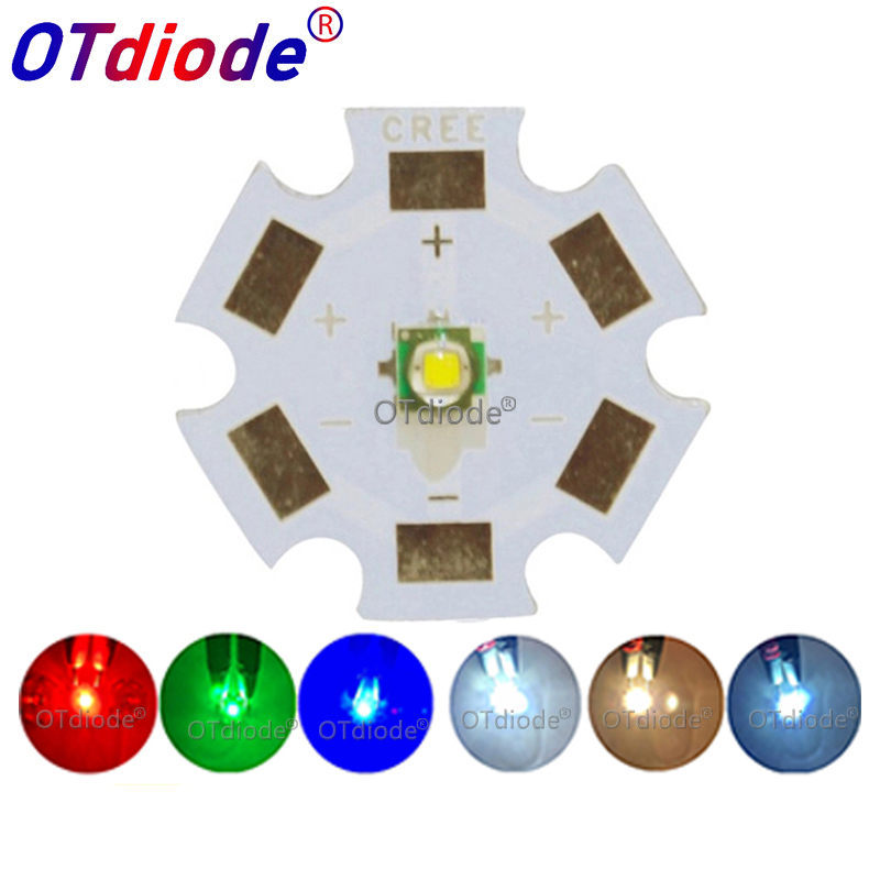 5pcs Cree <font><b>LED</b></font> XPE XP-E R3 3535 SMD 1W 3W High Power <font><b>LED</b></font> Diode Cold Warm White Red Green Blue Yellow with 20mm 16mm <font><b>PCB</b></font> <font><b>Board</b></font> image