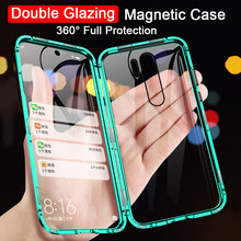 360 Double Side tempered Glass Magnetic Case For OPPO Realme 6i 5i 6 5 Pro C3 XT Reno 2 3 4 Pro 6.4 A5 A9 2020 A11X Metal Cover