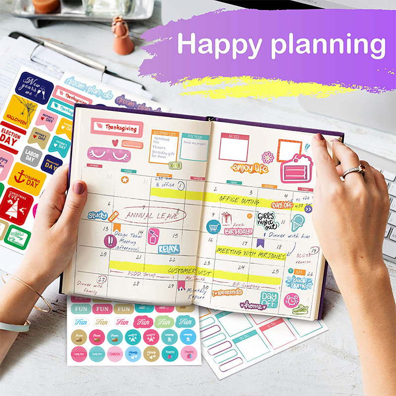 Planner Stickers for Diary Bullet Journal Accessories Stickers Bullet Journal Scrapbooking Stickers for Notebooks Stationery