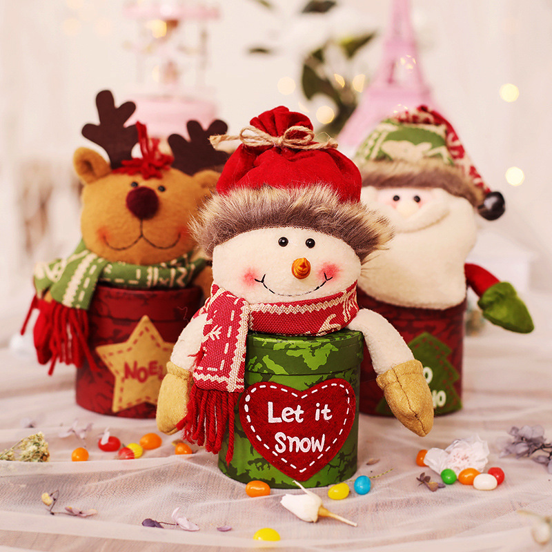 Christmas Candy Can Creative Gift Bag Snow Man Santa Clause Candy Bottles Super Mini Gif Bag Home Decoration Two For One