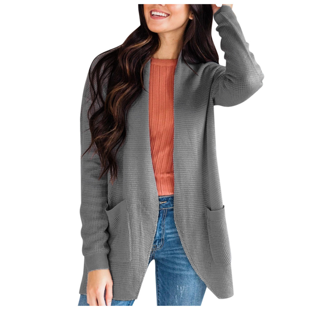 219 Autumn Winter New Women Plus Size Long Cardigan Casual Long Sleeve With Pocket Sweaters Female Solid Oversize Loose Coat