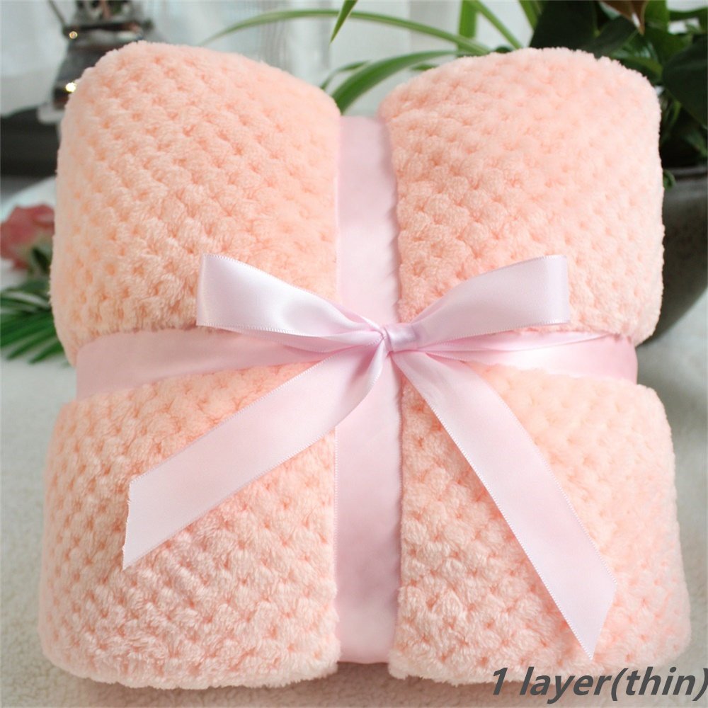 Super Soft Solid Color Kids Bed Spread Pink Blue Furry Plaid Baby Blanket Fleece Baby Swaddle Receiving Blanket Pet Cushion