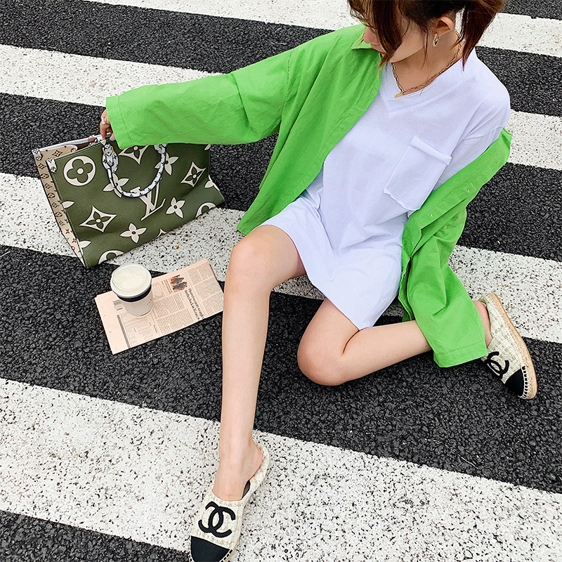 Online Celebrity WOMEN'S Suit 2019 Summer Thin Section Long-sleeved Shirt + Loose-Fit V-neck T-shirt Casual Loose-Fit Two-Piece
