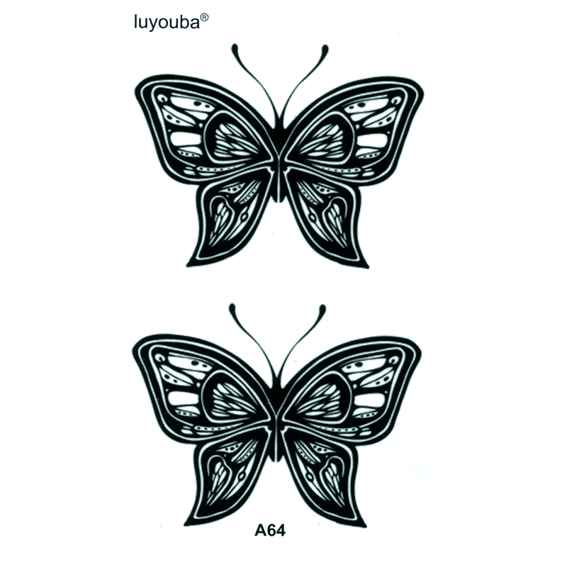 Black Butterfly Waterproof Temporary Tattoos Men Tatoo Temporary Sticker Body Arts Flash Tattoo Tatouage Temporaire Henna Tattoo