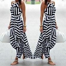Striped Dresses Women Sexy Summer Boho Maxi Long Evening Party Beach Dress Sundress Sleeveless Dresses