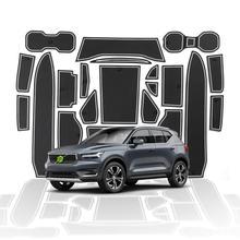 RUIYA Car Door Slot Pat For XC40 2018 2019 Anti Slip Dust Proof Door Groove Mats Auto Interior Accessories White Red 23Pcs