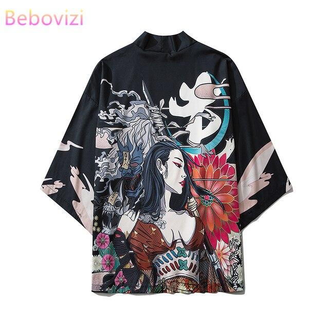 17 styl Harajuku japońska moda Kimono 2020 biały czarny mężczyźni i kobiety Cardigan bluzka Haori Obi azjatyckie ubrania samuraj