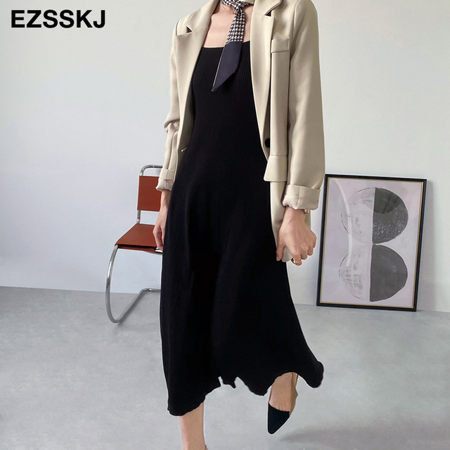 chic knit French V-neck A-line maix dress women female 2021 summer elegant  long dress robe dress 1