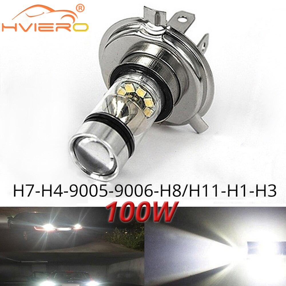 1X туман светильник 100 Вт светодиодные автобильные H4 H7 9005 9006 H1 H8 8000K головной светильник белый светильник светодиодный светильник тумана Авто...