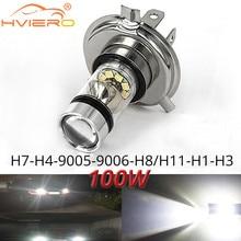 1x luz de nevoeiro 100w led carro h4 h7 9005 9006 h1 h8 8000k farol branco luz nevoeiro lâmpada auto plug play bulbo luz do dia direto