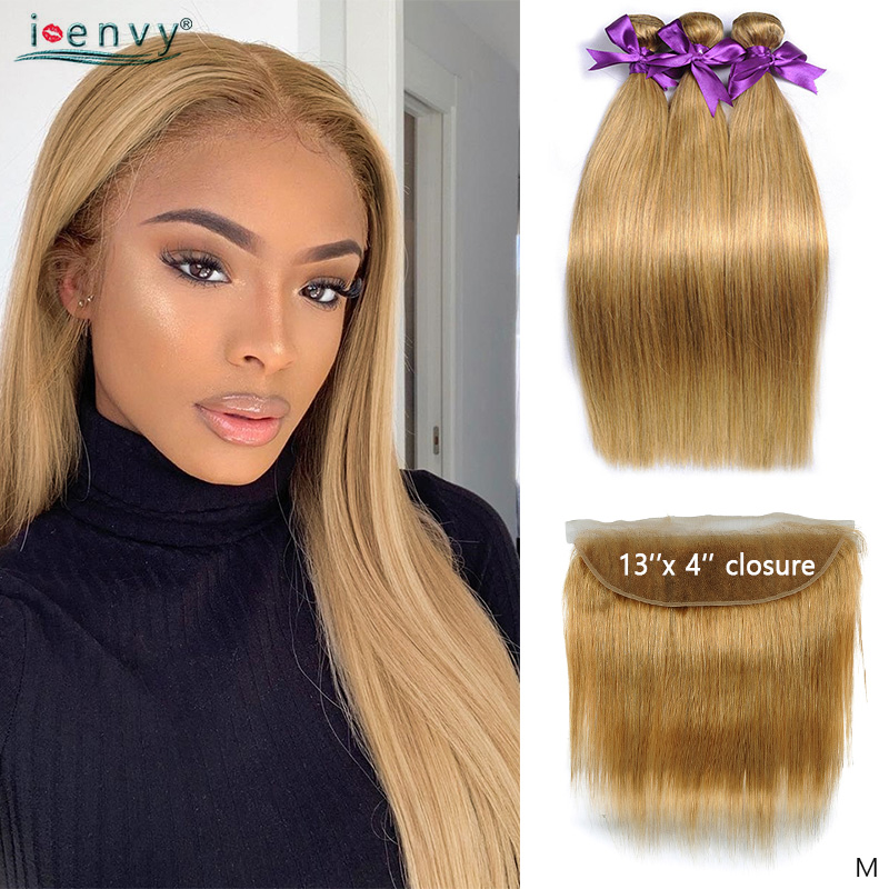 #27 Honey Blonde Bundles With Frontal Closure Peruvian Human Hair Weave Straight Pre Colored Bundles With 13*4 Closure Non-remy