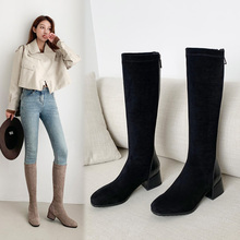 2021 Stretch Women's Boots Fashion Knee High Boots Faux Suede High Heels Autumn Winter Plush Woman Shoes Size 34-43 Black