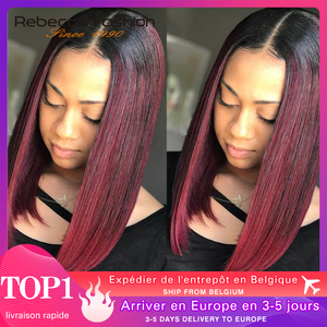 Straight lace front human hair wigs For Women Peruvian Remy Straight Hair Lace Part Wig Ombre Burgundy Middle Length Bob Rebecca(China)