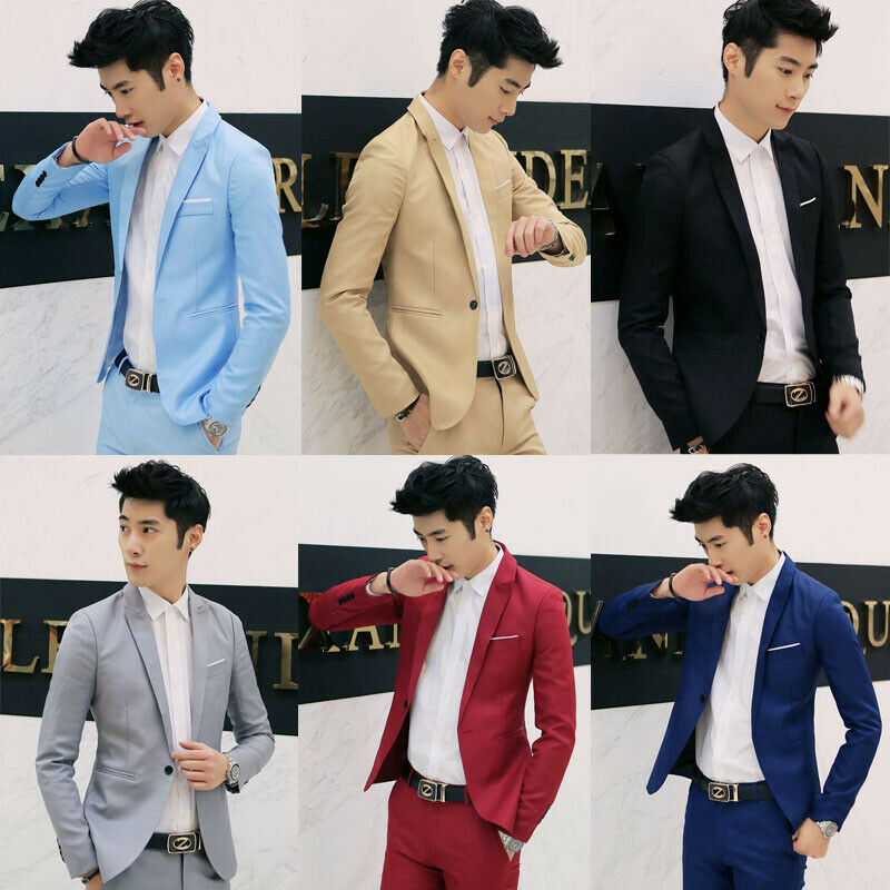 2020 New Korean Men Blazer Casual Slim Fit Office Suit Autumn Winter Jacket Coat Formal Masculina Blazer Men's Business