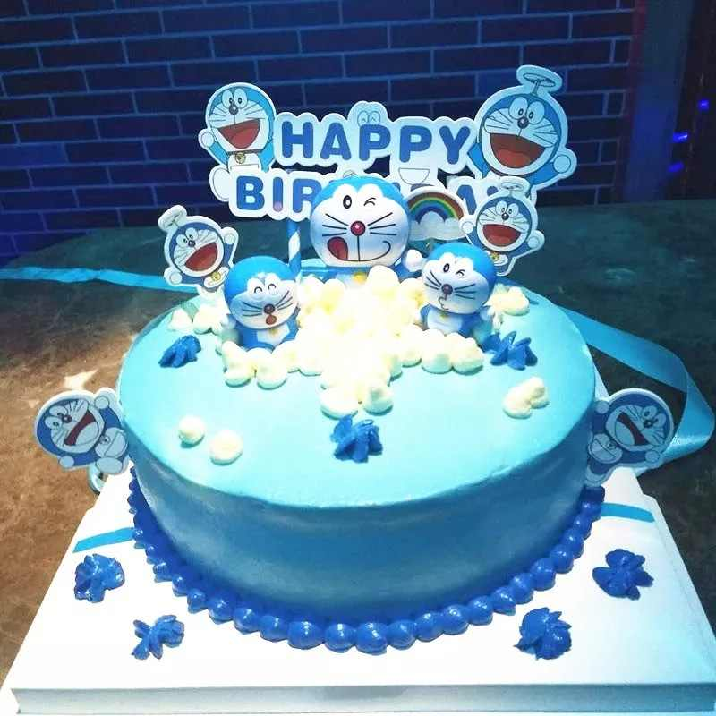 Awesome 4Pcs Set Japanese Anime Doraemon Action Figures Car Birthday Cake Funny Birthday Cards Online Inifodamsfinfo