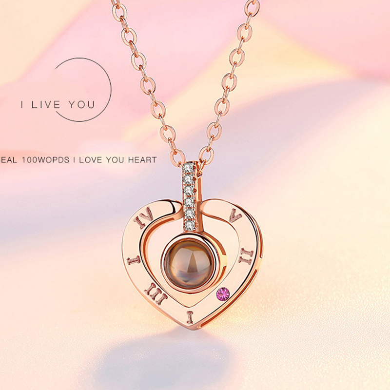 Dropshipping 100 Languages I Love You Projection Pendant Necklace for women