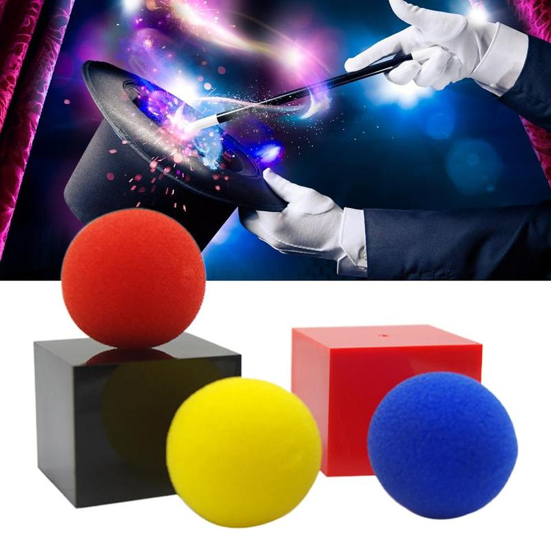 Large Set With Three Colored Sponge Balls Magic Toy Classical Illusion Close Up Children's Magic Box Props Red Tricks Toys