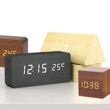 Led despertador de madeira relógio de mesa de controle de voz wake up luz digital relógio de madeira despertador usb/aaa alimentado relógios de mesa decoração de casa