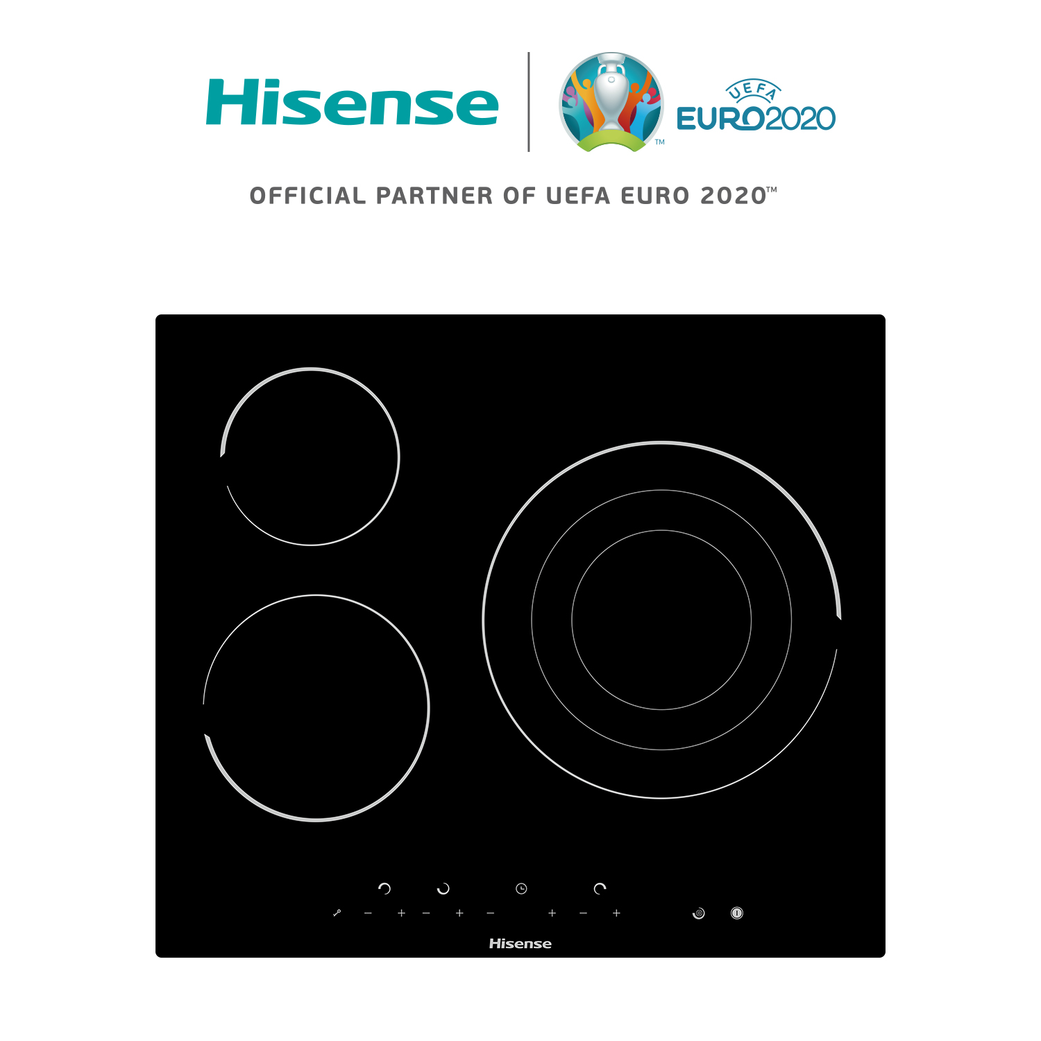 Hisense E6322C Ceramic Hob, Induction Cooker, Ceramic Glass Panel, 3 Burners, 5700 W, 59 × 6 × 52 Cm